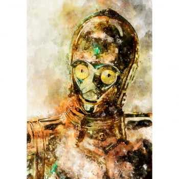 Quadro Star Wars C-3PO Estilo Aquarela