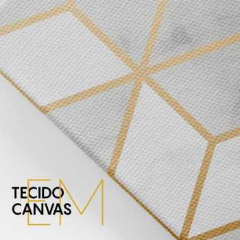 Quadro Abstrato Geométrico Gold Love - Kit de 3 Telas