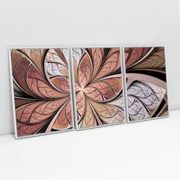 Quadro Decorativo Abstrato Vitral Rosê - 3 Telas