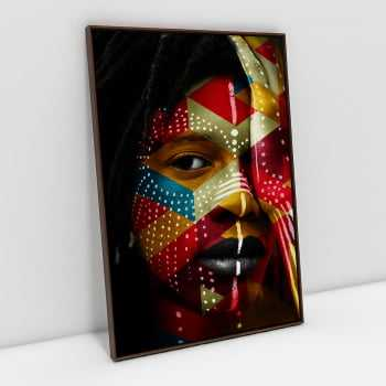 Quadro Face Africana Colorida