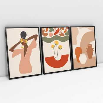 Quadro Terracota African Elements - Kit de 3 Telas
