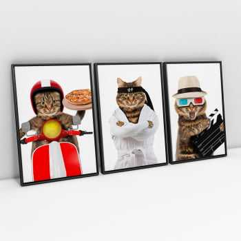 Quadros Gatos Divertidos - Kit 3 Telas Retangulares