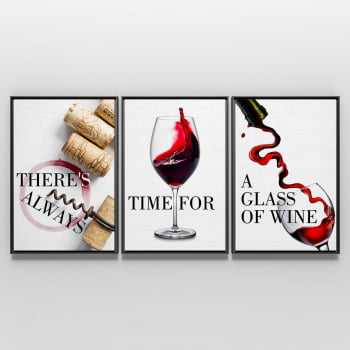 Quadro Vinho There's Always Time for a Glass of Wine - Kit de 3 Telas Retangulares