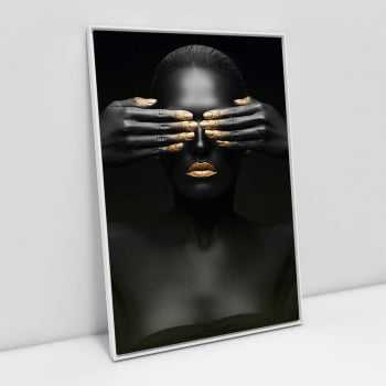 Quadro Black Face With Gold II