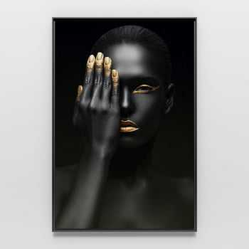 Quadro Black Face With Gold III