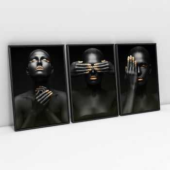 Quadro Moderno Black Faces With Gold - Kit de 3 Telas