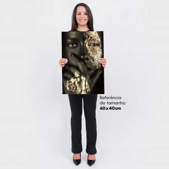 Quadro Moderno Fashion - Golden Flow - The Black and Gold Woman