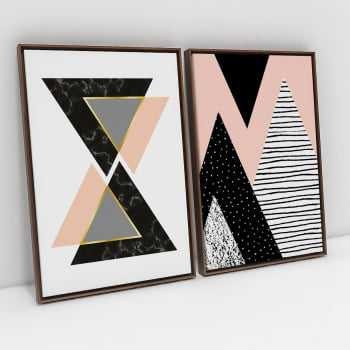 Quadros Escandinavos Triangulares Black and Light Pink - Kit de 2 Telas Retangulares