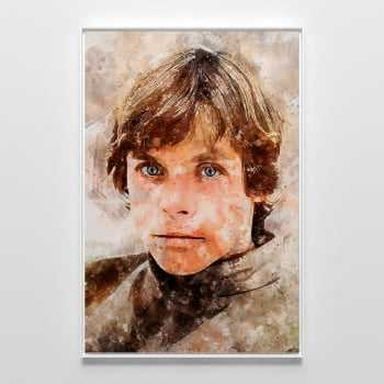 Quadro Star Wars Luke Skywalker Estilo Aquarela