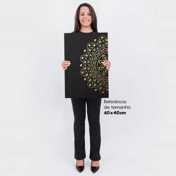 Quadro Mandala Abstrato Gold and Black - 2 Telas